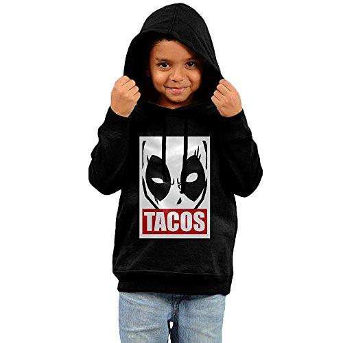 Deadpool Tacos Little Boys Girls Pullover Hoodie - Black -
