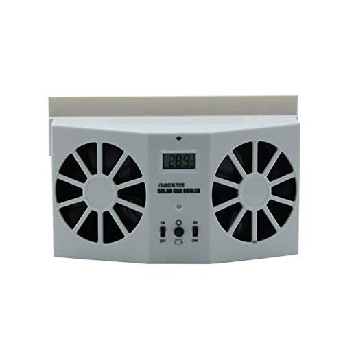 VORCOOL Solaire Ventilateur d'échappement de voiture double Rechargeable Ventilateur automatique Système de ventilation Refroidisseur d'air Ventilateur de ventilation Ventilateur de pare-brise avant / arrière (blanc)