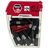 Bo?te de 25 Embouts Pozidriv MILWAUKEE PZ2 25mm SHOCKWAVE 4932352553