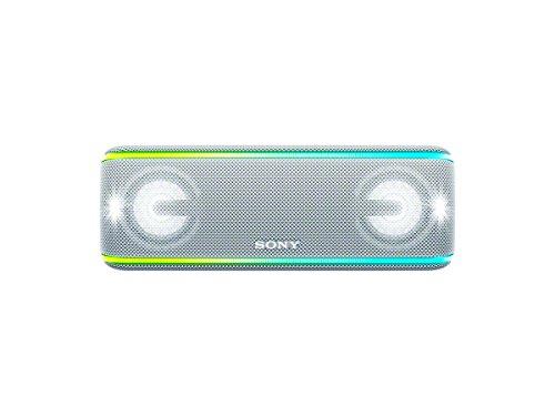 Sony SRS-XB41 kabelloser Bluetooth Lautsprecher (tragbarer, Mehrfarbige Lichtleiste, Lautsprecherbeleuchtung, Stroboskoplicht, NFC) weiß