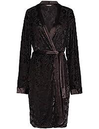 87aae69f74 Slenderella GL8713 Women s Black Floral Dressing Gown Long Sleeve Kimono