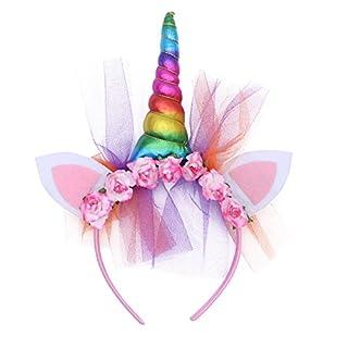 BESTOYARD Einhorn Horn Stirnbänder Einhorn Ohr Haarband Party Blumen Kopfschmuck Foto Requisiten (Regenbogen)