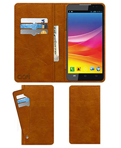 Acm Wallet Leather Flip Carry Case for Micromax Canvas Nitro 2 E311 Mobile Flap Card Holder Front & Back Cover Classic Golden