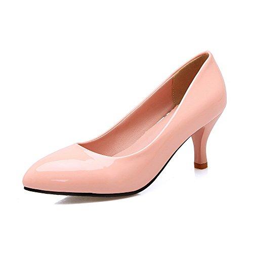 VogueZone009 Femme Pointu à Talon Correct Verni Couleur Unie Tire Chaussures Légeres Rose
