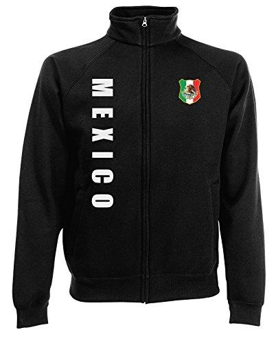 Mexiko Mexico Sweatjacke Jacke Trikot Wunschname Wunschnummer (Schwarz, L) Mexiko-jacke