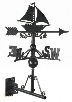 Traditional Cast Iron Garden Weathervane with Detailed Sail Boat/Ship Motif - Fixings and Bracket Included - Various Sizes and Finishes Available (Small,