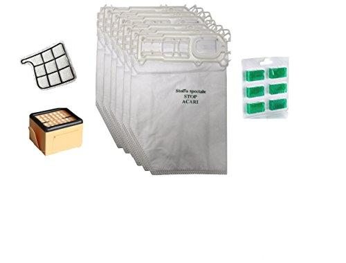 Preisvergleich Produktbild Set aus 6 Mikrofaser-Staubbeuteln + 6 Duftstäbchen + 1 HEPA-Filter + 1 Motorfilter für Kobold VK 135 136