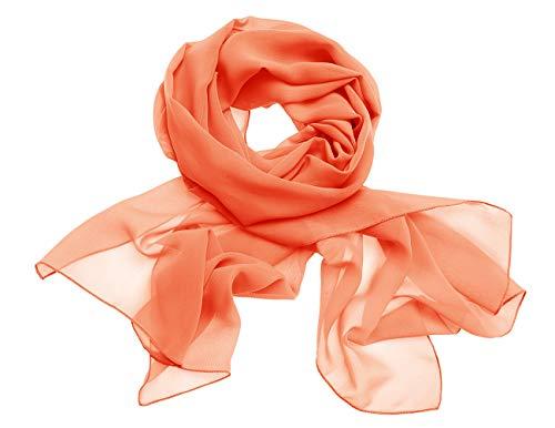 Dresstells Chiffon Schal Stola für Abendkleider in Verschiedenen Farben Orange 190cmX70cm/ Medium