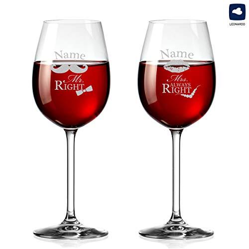 polar-effekt Weingläser mit Personalisiert Gravur - Rotwein-Glas 460ml - Mr. & Mrs. Always Right mit Schnurrbart & Kussmund - Geschenk zur Hochzeit