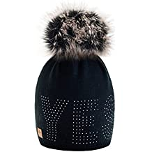 4sold sí dorado para mujer invierno gorro de lana de punto Beanie gorro de forro polar con pompón Cap Gorros de esquí infantil
