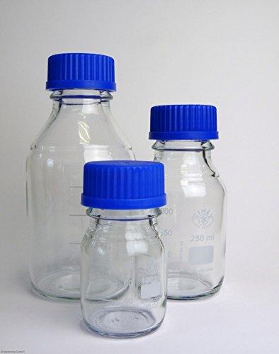 Laborgewindeflasche mit blauer Kappe (GL45) und Ring 2000 ml, aus Borosilikatglas, blauer Ausgießring, Gewindeflasche, Glasflasche