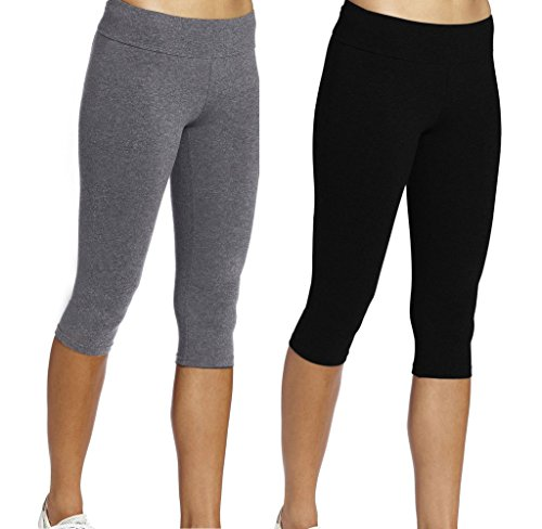 Leggings Court Femme Sport Pantalons Noir+Gris 3/4 Tights Capri Yoga Gym,M