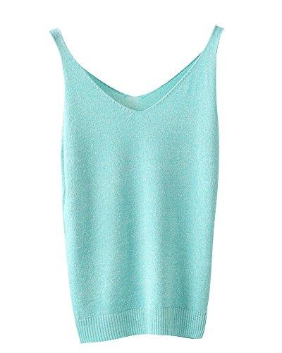 Donna V-Collo Tinta Unita Sottile Fionda Maglieria Gilet Bottoming Camicia Top Verde chiaro