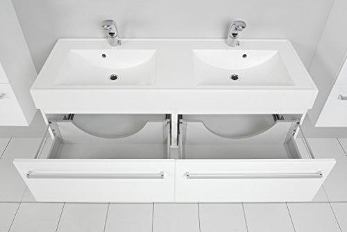 Quentis Doppelwaschplatz Aruva, Breite 140 cm, Waschplatzset 3-teilig, Waschbeckenunterbau mit zwei Schubladen, Front und Korpus weiß glänzend - 4