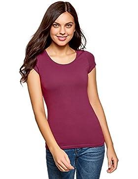 oodji Ultra Donna T-Shirt Basic con Taglio a Goccia sul Retro