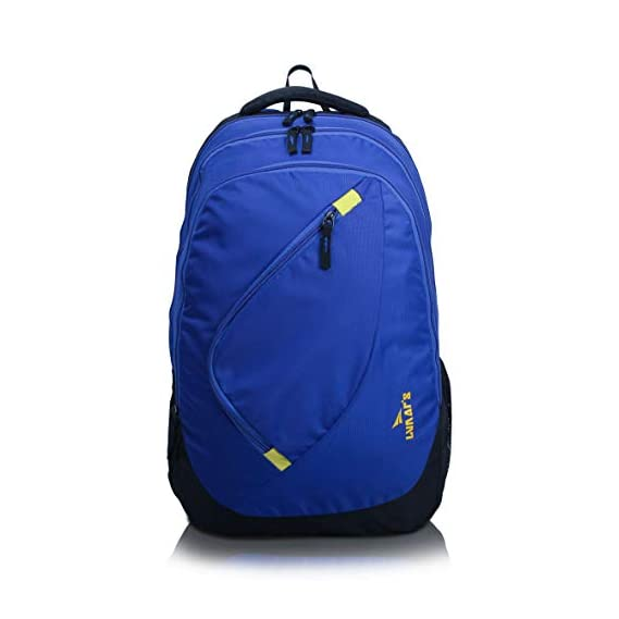Lunar's Comet 35L Water Resistant Casual Backpack - 3 Compartments, Anti - Theft Internal Organiser, 1 Year Warranty (Blue and Yellow)