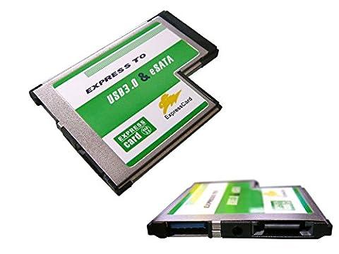 Kalea Informatique Express-Karte 54mm (Expresscard 54) auf USB3.0 und eSATA3.0, doppelter Chipsatz ASM 1042 1051 (bündig, USB-Anschlüsse überragen nicht das PC-Gehäuse)