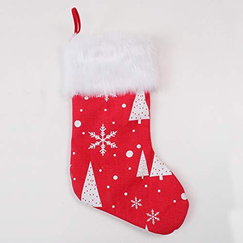 Tenrany Home Weihnachten Strumpf, Christmas Stockings Hängen Weihnachtsstrümpfe Socken, Polyester Rot Schneeflocke Weihnachtsbaum Weihnachtssocken für Weihnachtsdeko Kamin Dekoration Geschenk Beutel