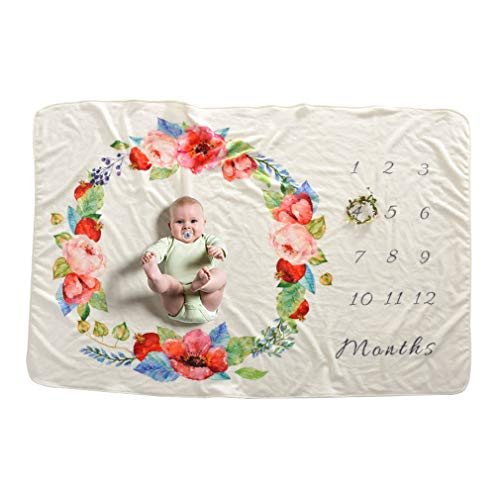 hibote Soft Fleece Bébé Milestone Couverture Nouveau-Né Photographie Props Floral Lapin Mois En Mois Couverture Photo Toile de Fond Tissu