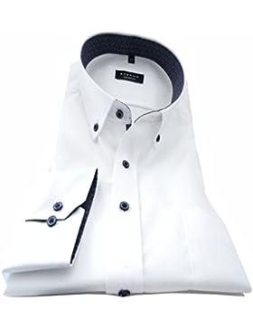 eterna Herren Businesshemd Comfort Fit Langarm Weiß Uni mit Modern Button-Down-Kragen