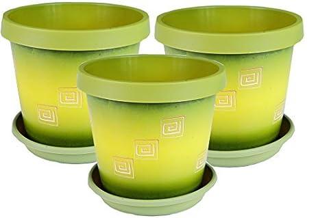 Set of 3 coloured plant pots with saucer (Olive Green-Greek, 22cm-8.9inch) (Olive Green-Greek)