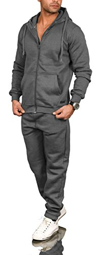 A. Salvarini Herren Jogging Anzug Trainingsanzug Sportanzug Sweatshirt AS071 (Gr. XXL/Gr. 2XL, Dunkelgrau)