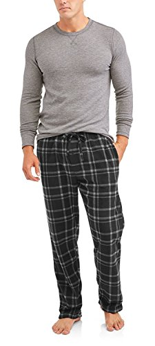 Hanes Mens Adult Xtemp Long Sleeve Crew Shirt & Fleece Plaid Pant Pajamas PJ Set -