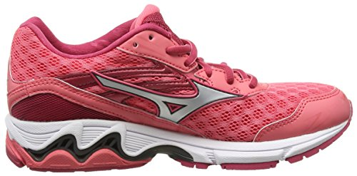 Mizuno Wave Inspire 12, Chaussures de Running Compétition femme Rose - Pink (Calypso Coral Silver Raspberry Wine)