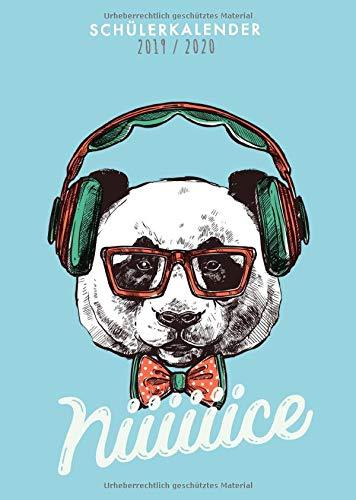 Schülerkalender 2019 2020: cooler Schulplaner 2019-2020 | Motiv Nice Panda mit Kopfhörern | 1 Woche auf 2 Seiten Planer Organizer für die Schule