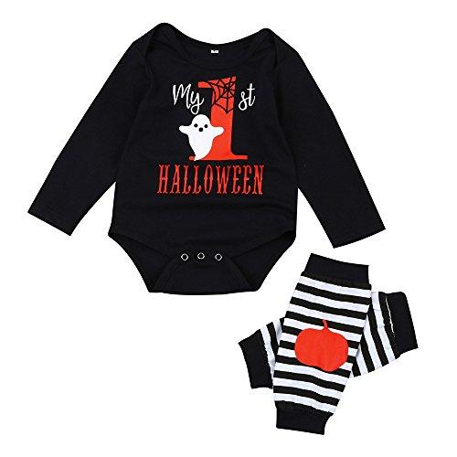 Notdark 2 Stück Kinderkleidung Set Baby Mädchen Junge Outfits Halloween My First Halloween Letter Drucken Strampler +Gestreifte Beinärmel(Schwarz,80)