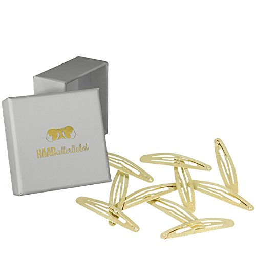 10 Haarspangen Haarclips gold schimmernd 5,8cm in weisser Box von HAARallerliebst