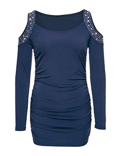 Smile YKK Aermel Mit Blintzend Perlen Damen Freizeit Shirt Oberteil Shirts T-Shirts Casual Shirt Pullover Slim Fit Blau