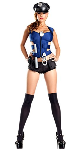 NEU 4 Stück blau und schwarz Police Cop Uniform Fancy Dress Damen Kostüm Hen Night Party Club Wear Größe passt (Dress Fancy Cops)