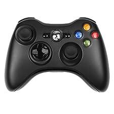 PowerLead Manette De Jeu,Nouveau contrôleur de jeu de télécommande sans fil pour Microsoft Xbox 360 PC Windows 7 XP Whit Joypad-Black