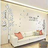 Autocollants Acrylique 3D Grande Taille Arbre Décoration Murale Miroir Stickers Muraux Tv Toile de Fond Décor À La Maison Salon Autocollants, 180X100Cm, Ayzr...