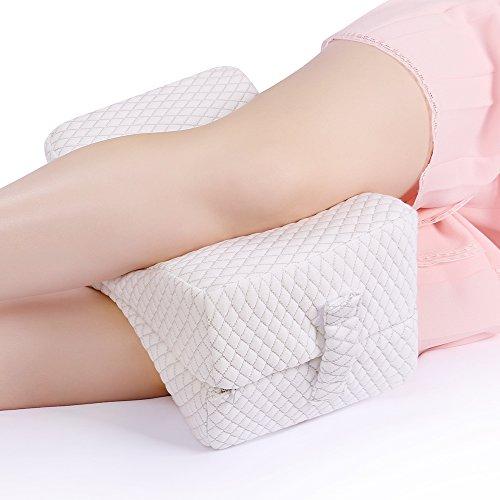 NURSAL Almohada plegable para rodilla contra dolor de ciática, dolor de espalda, dolor de pierna, cadera, embarazo y calambres laterales, Almohadilla ortopédica para pierna Memory Foam con la cubierta lavable respirable y diseño ergonómico para aliviar dolores