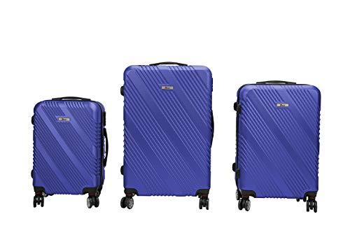 Luxus 3 TEILIGES Kofferset IMEX Koffer Trolley HARTSCHALE ABS REISEKOFFER Set (Blau)