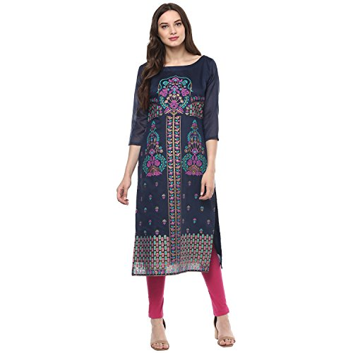 Indimania Women's Blue Color 3/4 Sleeve Colour Pigment Print Straight Festive Wear Chanderi Silk Kurta (IMKUCH20029)  available at amazon for Rs.603