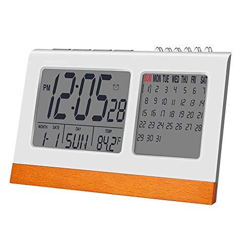 KIOio Reloj Digital con Pantalla Grande, Calendario perpetuo, Reloj Despertador electrónico, Calendario, Fecha, Temperatura de la Oficina