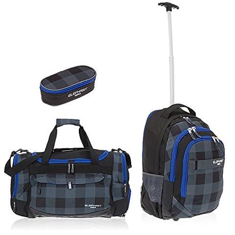 3 Teile MAXI SET: ELEPHANT Trolley HERO SIGNATURE Trolleyrucksack + Sporttasche GYM MATE XL + BOX Mäppchen (Plaid Blue - Schwarz