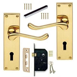 Victorian Scroll Polished Brass Lever Lock Door Handles + 3 Lever Lock Set +2 Keys