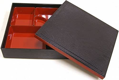 A traditional shokado-type bento box. These boxes are usually lacquered in black and coated with urethane coating.