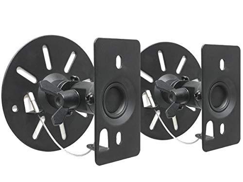 DRALL INSTRUMENTS 2 Stück Universal Wandhalterungen für Lautsprecher Boxen bis 15 kg - neigbar schwenkbar drehbar - Boxenhalterung für Deckenmontage Wandmontage Befestigung - schwarz Modell: BS9B