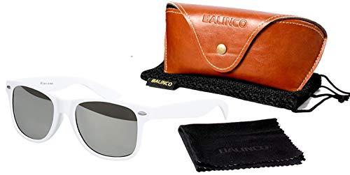 Balinco Hochwertige Polarisierte Nerd Rubber Sonnenbrille im Set (24 Modelle) Retro Vintage Unisex Brille mit Federscharnier (White-Silver Mirror)