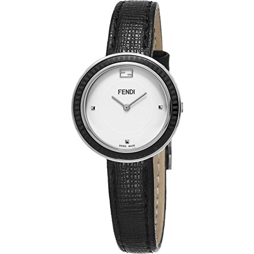Fendi Women's 28mm Black Calfskin Band Steel Case Swiss Quartz White Dial Analog Watch F352024011