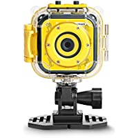 DROGRACE Kids 1080P HD Digital Waterproof Sports Action Underwater Video Camcorder for Girls Boys Birthday Children First Camera (Yellow), Small