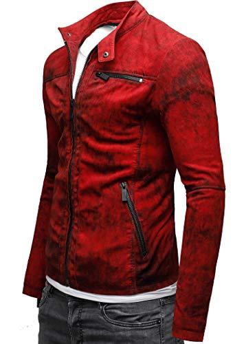 CRONE Epic Herren Lederjacke Cleane Leichte Basic Jacke aus weichem Schafs-Leder (L, Vintage Rot) - 2