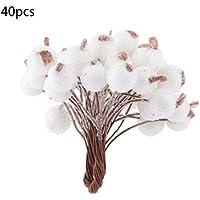 lujiaoshout Artificiales Flores de la Espuma Bayas heladas Falso Acebo Mini Fruta de la Navidad Decorativo del hogar Banquete de Boda Blanco