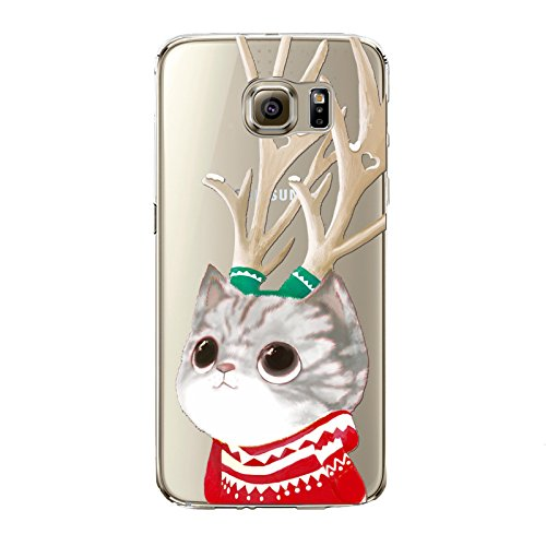 Christmas Hülle iPhone 7 / iPhone 8 LifeePro Weihnachts Cover Ultra dünn Weiches Transparent TPU Gel Silikon Handy Tasche Bumper Case Anti-Scratch Back Cover Full Body Schutzhülle für iPhone 7 / iPhon Cat with Antlers
