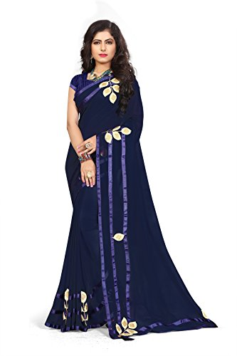 Riva Enterprise Women's Georgette Mirror And Hand Work Saree